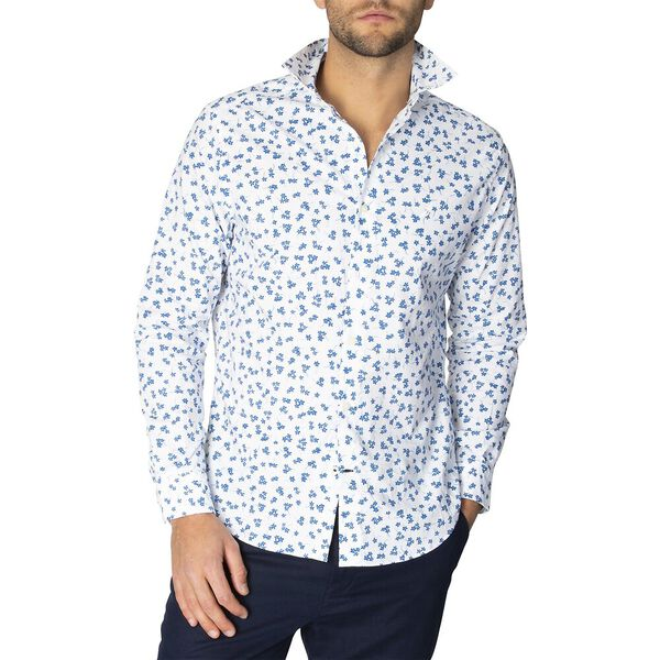 Classic Fit Navtech Floral Print Long Sleeve Shirt, Bright Wht, hi-res