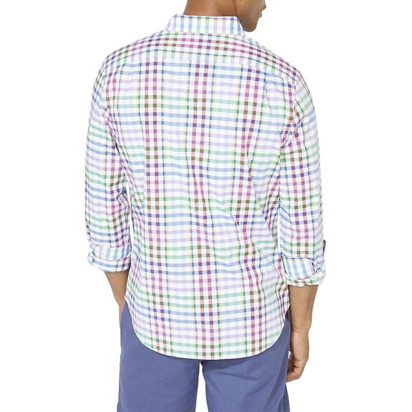 Classic Fit Stripe Plaid Spring Splice Poplin Shirt, Bright White, hi-res