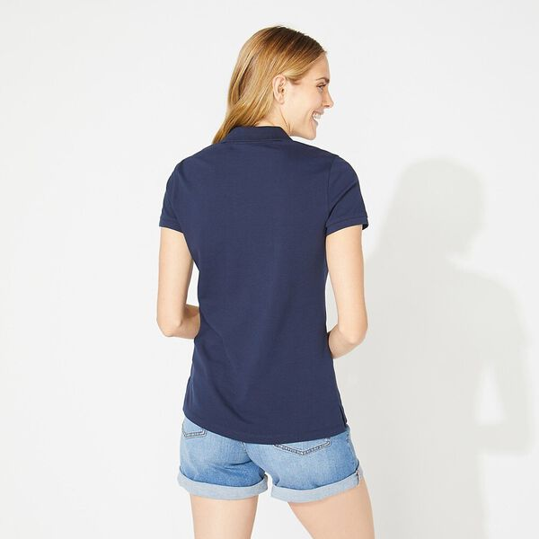 Open Collar Short Sleeve Polo Shirt, Navy, hi-res