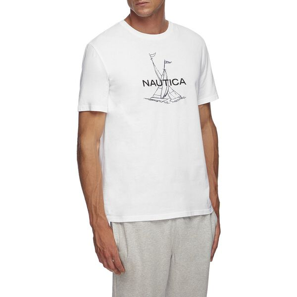 Short Sleeve Anchor Flag Graphic T-Shirt, Bright White, hi-res