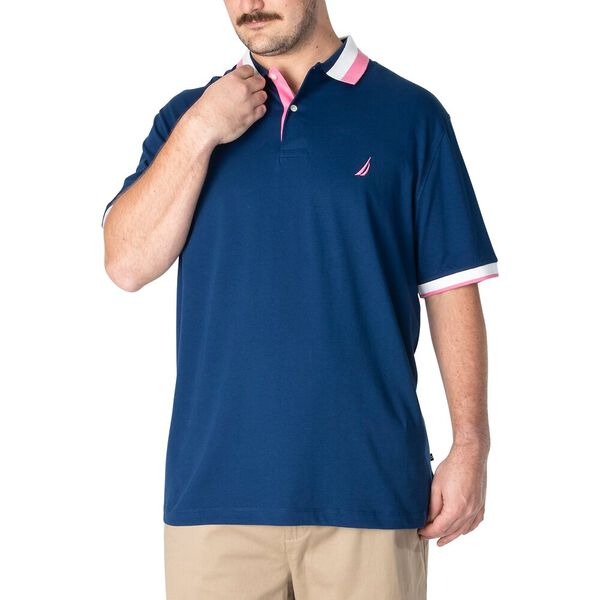 Big & Tall Cotton Stripe Collar Polo, Estate Blue, hi-res
