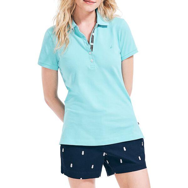 Chambray Pop Collar Polo, Big Blue Wave, hi-res