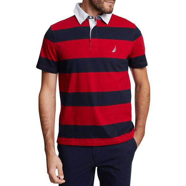 BIG & TALL YARN DYED STRIPE POLO, NAUTICA RED, hi-res