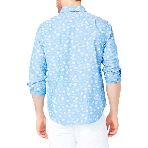 Classic Fit Tropical Print Chambray Print, Clear Sky Blue, hi-res
