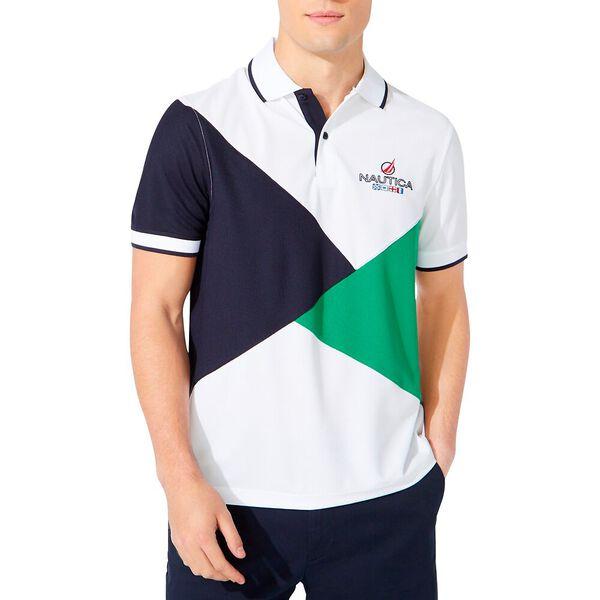Classic Fit Diagonal Colourblock Polo, Bright White, hi-res