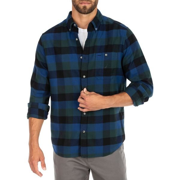 Nautica Plaid Flannel Shirt, Bistro Green, hi-res