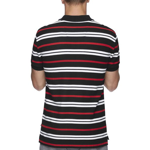 SHORT SEEEVE MULTI-STRIPE POLO, NAVY, hi-res
