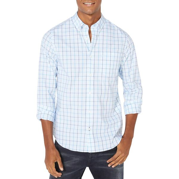 Slim Fit Wrinkle Resistant Plaid Shirt, Azure Blue, hi-res