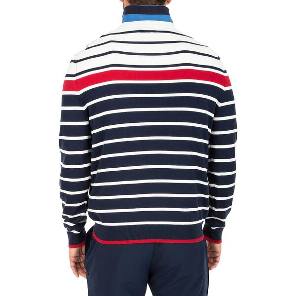 Tricolour Striped Crew Neck Jumper, Navy, hi-res