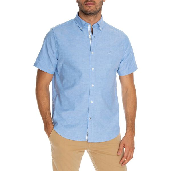 Blue Sail Short Sleeve Solid Oxford Shirt, Light French Blue, hi-res