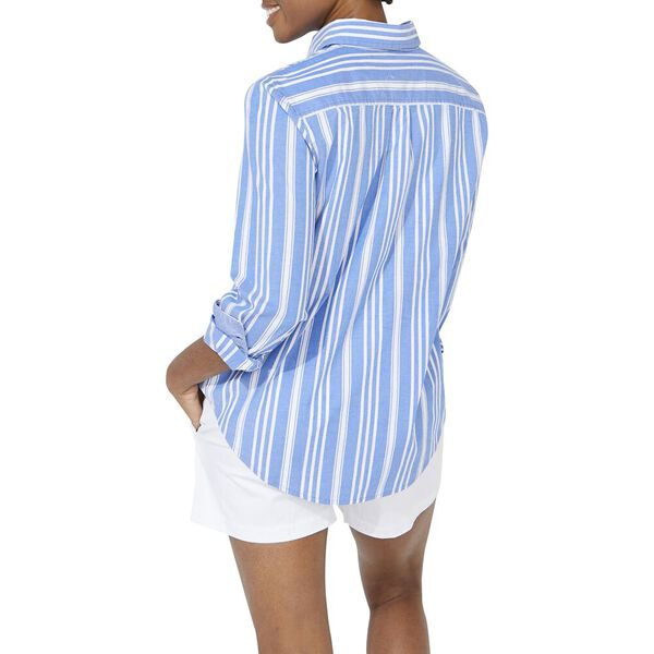 Paradise Stripe Pleat Back Shirt, Spinner Blue, hi-res