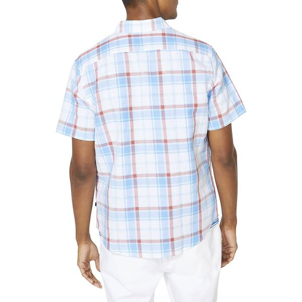 Classic Fit Blue Sail Linen Blend Plaid Short Sleeve Shirt, Aqua, hi-res