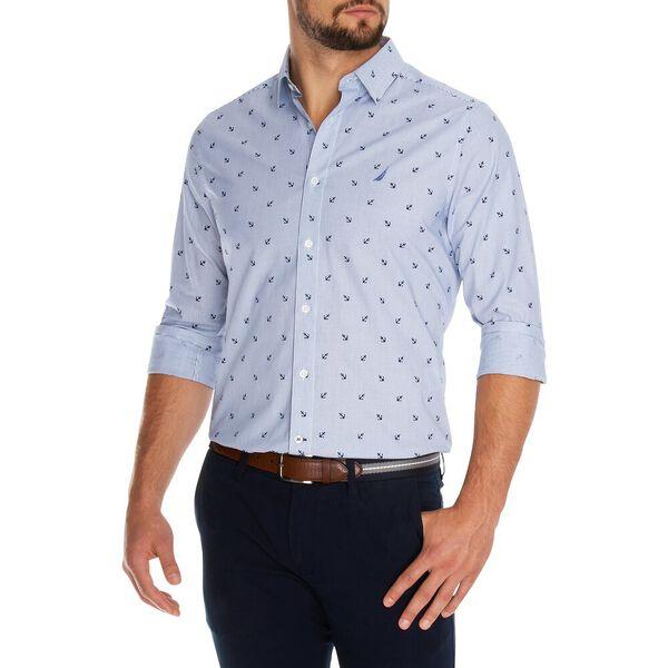 Classic Fit Long Sleeve Oxford Print Shirt, Windsurf Blue, hi-res