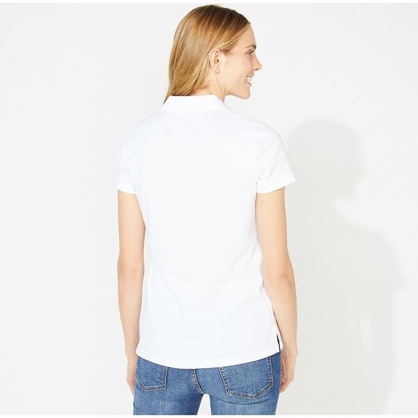 Open Collar Short Sleeve Polo Shirt, Bright White, hi-res