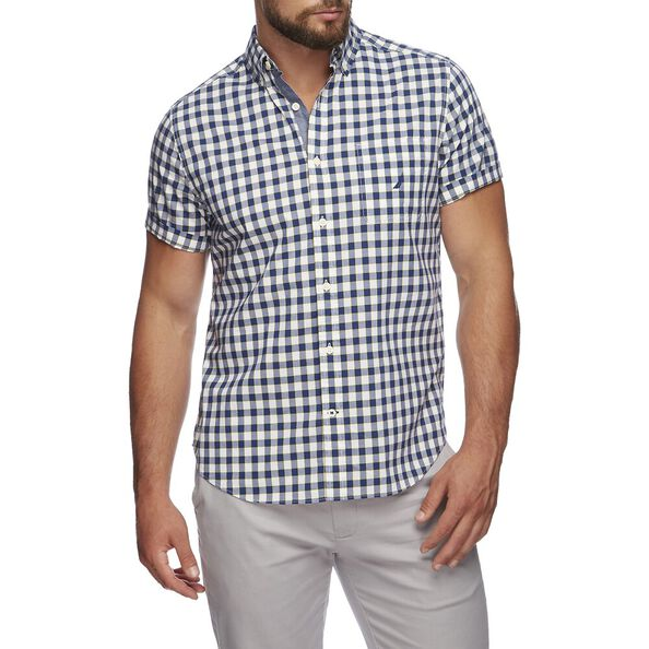 CLASSIC FIT STRETCH SHORT SLEEVE SHIRT IN GINGHAM, BLUE DEPTHS, hi-res