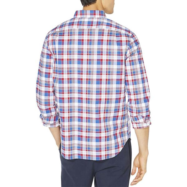 Classic Fit Long Sleeve Plaid Shirt, Nautica Red, hi-res