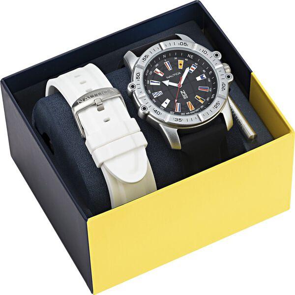 Garda Cup Multi Strap Box-Set Watch, Black/ White, hi-res