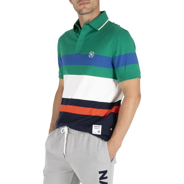 Nautica Jean Co. Stripe Rugby Polo, Mariner Green, hi-res