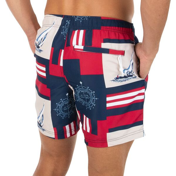 Sustainably Crafted Navigate Packable Swim Shorts, Maritime Navy, hi-res