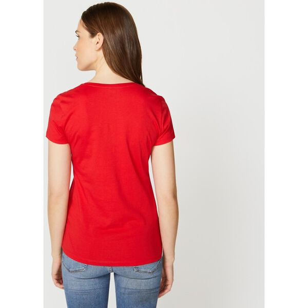 Solid V-Neck Tee, Bright Red, hi-res