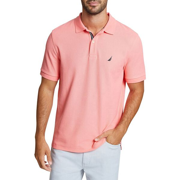 CLASSIC FIT SOLID MESH POLO SHIRT, PALE CORAL, hi-res