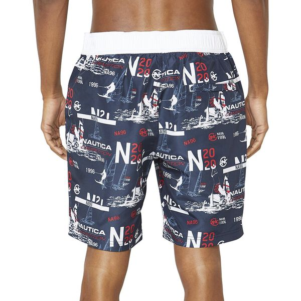 """19"""" Competition Print Quick-Dry Swim Shorts, Navy, hi-res"""