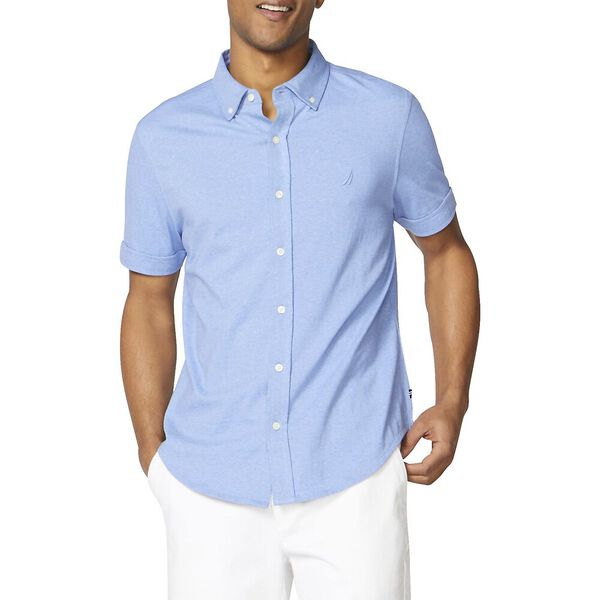 Classic Fit Harbour Shirt In Solid Knit Cotton, Clear Skies Blue, hi-res