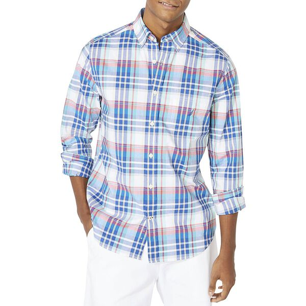 Classic Fit Long Sleeve Plaid Shirt, Bright White, hi-res