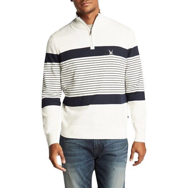 1/4 Zip Engineered Stripe Navtech Sweater, Marshmallow, hi-res