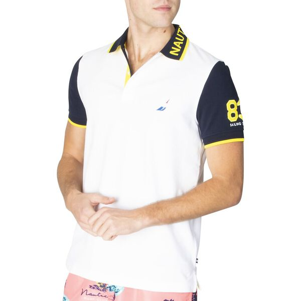 Slim Fit Pop Your Collar Contrast Polo, Bright White, hi-res