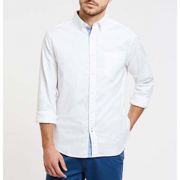 Wrinkle Resistant Stretch Oxford Shirt, Bright White, hi-res