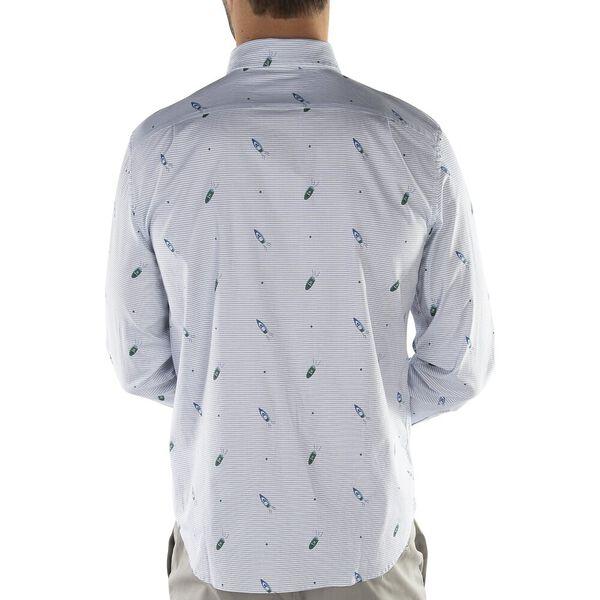 Oxford Classic Fit Geometirc Speedboat Print Stripe Shirt, Rivera Blue, hi-res