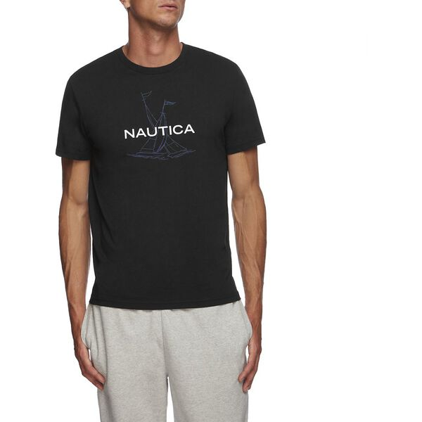 Short Sleeve Anchor Flag Graphic T-Shirt