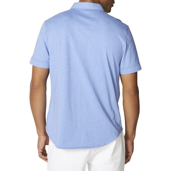 Harbour Shirt In Solid Knit Cotton, Clear Skies Blue, hi-res