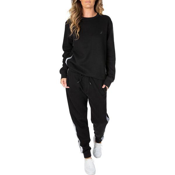 Nautica Unisex Logo Taping Sweater, True Black, hi-res