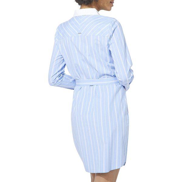 Isabella Striped Belt-Accented Shirtdress, Vista Blue, hi-res