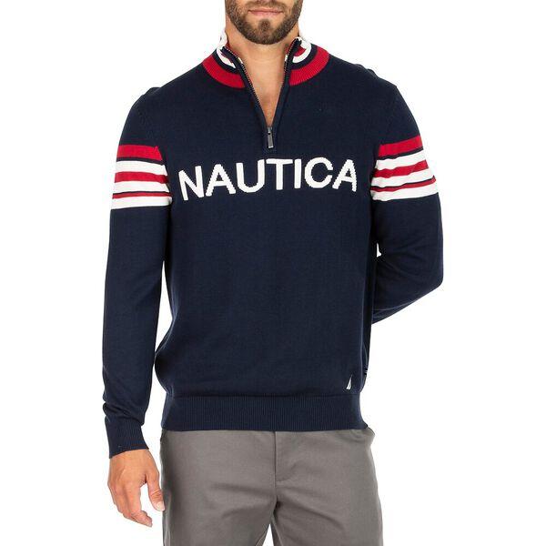 Nautica 1/4 Zip Heritage Jumper, Navy, hi-res