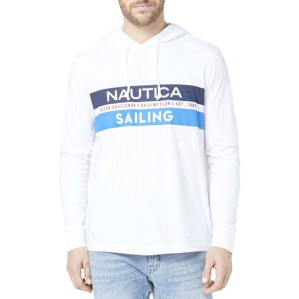 Graphic Sailing Print Long Sleeve T-Shirt Hoodie, Bright White, hi-res