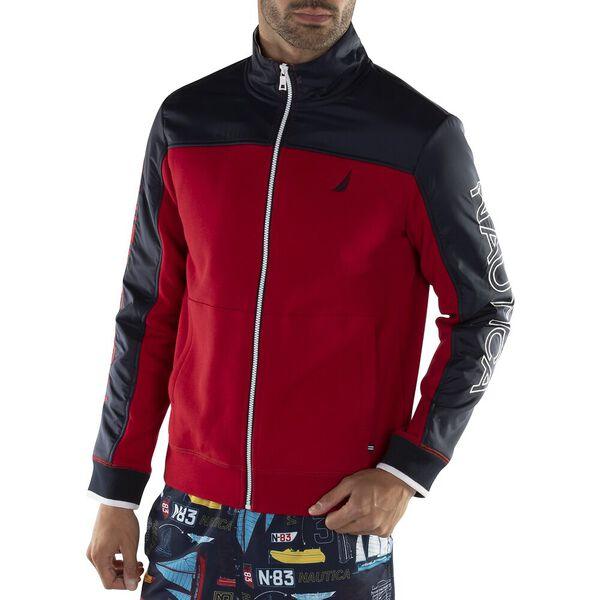 Blocked Track Jacket, Nautica Red, hi-res