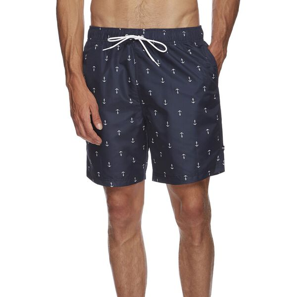 "8"" ANCHOR PRINT SWIM SHORTS, NAVY, hi-res"
