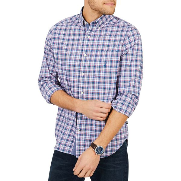 LONG SLEEVE CLASSIC FIT PLAID SHIRT, ENSIGN BLUE, hi-res