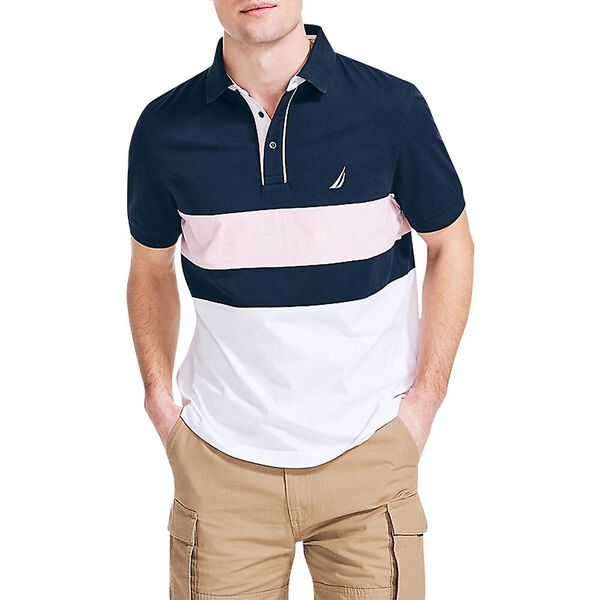 Classic Fit Piped Polo, Navy, hi-res
