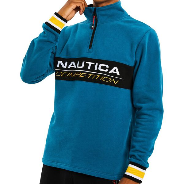 Nautica Competition Liner Fleece Quarter Zip Sweater, Teal Tides, hi-res