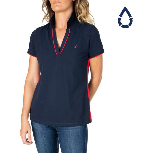 Sustainably Crafted Open V Polo, Navy, hi-res
