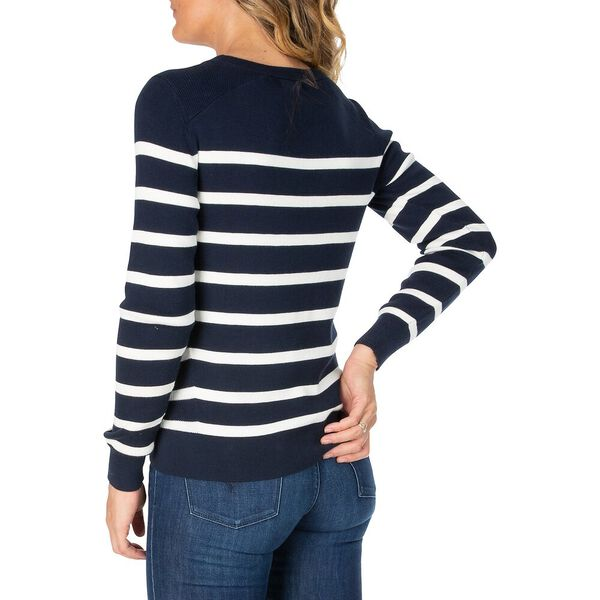 Sustainably Crafted Button Up Striped Jumper, Navy, hi-res