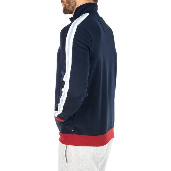 Classic Fit Taping Full Zip Sweater, Navy, hi-res