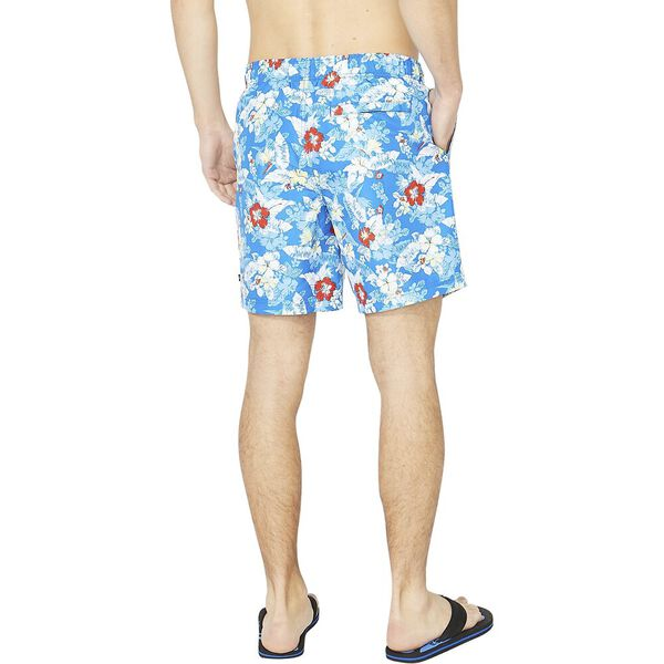 """8"""" All Over Hibiscus Stripe Swims, Spinner Blue, hi-res"""