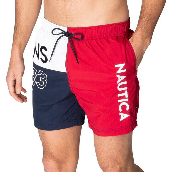 Between The Flags Elasticated Waist Swim Shorts, Nautica Red, hi-res