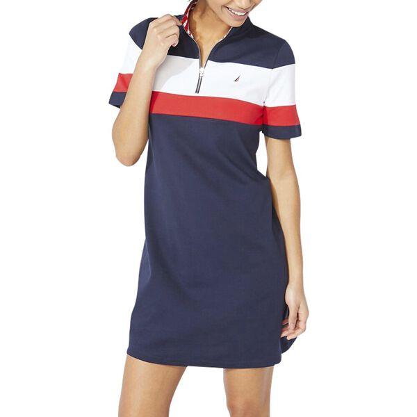 Claire Colourblock Zip Polo Dress, Navy Seas, hi-res