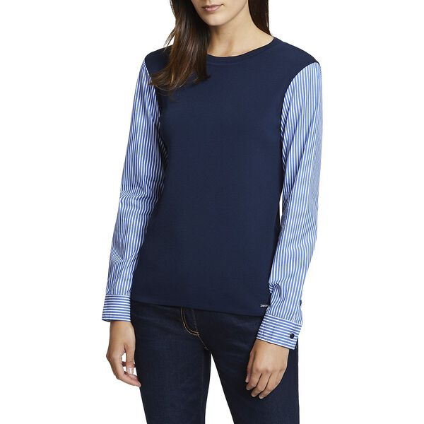 CONTRAST STRIPED SLEEVE SWEATER, NAVY SEAS, hi-res